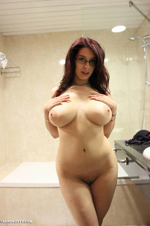 Big Tits With Glasses - Super hot red hair model with glasses displays sexiness and big tits in the  shower