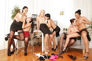giant lesbian orgy porn - ... Lecherous office ladies make a fervent lesbian orgy at their work place  ...