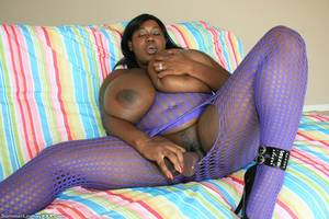 ebony summer xxx - Black fattie in purple body stocking shows her humongous boobs and plays  with dildo
