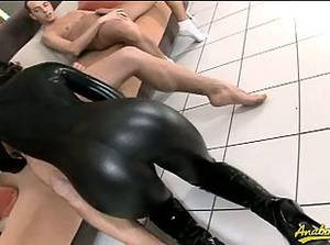 latex boot sex - Latex ebony slut vanessa gets banged by two dudes