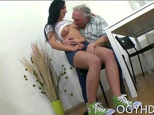 horny old man - Brunette honey falls into the arms of a horny old man
