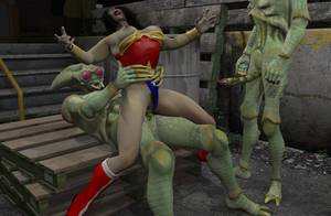 Evil Wife Porn - Wonder Woman's holes get brutalized by evil 3D invaders