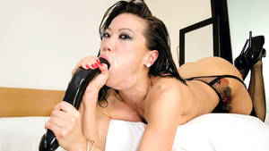 asian throat porn - Asian Kalina Ryu gets throat fucked by dildo and hard cock