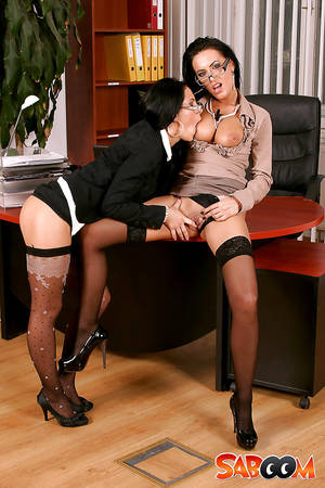 lesbian secretary sex brunette - ... Ravishing office ladies have partly clothed lesbian sex using a strapon  dildo ...