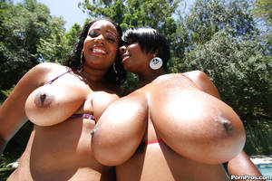 monster ebony boobs - ... Ebony MILF babes with big tits Janae and Stacy posing naked outdoor ...