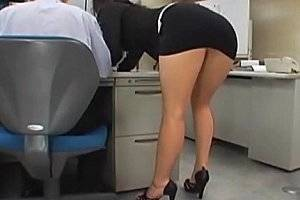 Japanese Office Porn Mini Skirt - Japanese office girl gets fucked by two