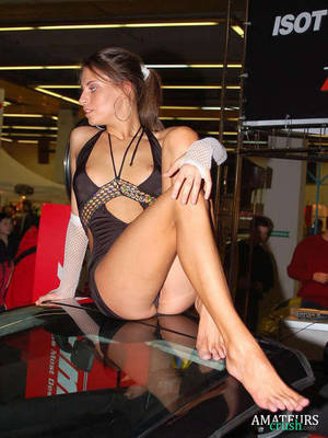 Fat Girl Pussy Oops - ... show girl sitting on a car and having a public nip slip while posing  for a ...