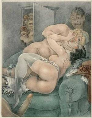 erotic anal sex drawings - Various kinds of a threesome sex are shown in vintage erotic cartoons.