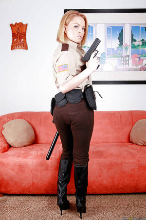 krissy lin - ... Hot babe in police uniform Krissy Lynn stripping and spreading her legs  ...