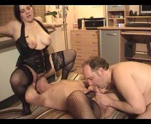bi threesome wife - Amateur bisexual threesome with bottom in fishnets
