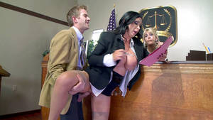 in front of - Buxom prosecutor Nikki Benz gets fucked in front of the judge