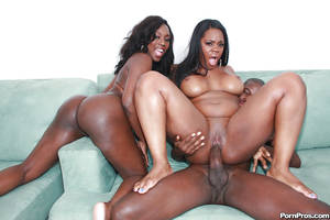 long ebony anal - ... Ebony MILF babes Janae and Samone having rough anal groupsex ...