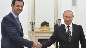 British Schoolgirl Porn - Bashar al-Assad and Vladimir Putin shaking hands