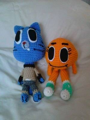 Dolly The Amazing World Of Gumball Porn - Gumball and Darwin from The Amazing World of Gumball. Free crochet pattern  at KimLapsley.