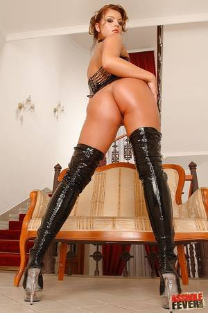 latex boot sex - ... Hottie in latex boots and corset fucked in crazy anal threesome ...