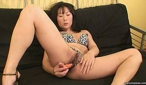 brunette asian slut sucking - Brunette Asian slut rubbing her wet pussy with a toy