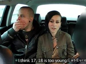 European Taxi Porn - European married couple foreplay in fake taxi