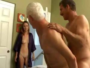 Grandpa S - Grandpa s bisexual fun with younger couple