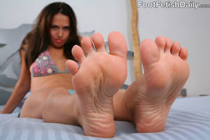 foot worship toys - Brunette honey shows every inch of her soft feet then pleasures her lover's  prick