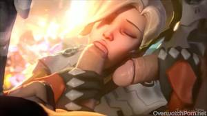 Huge Cumshot Porn Animated - Lovely Mercy and Pharah get fucked hard