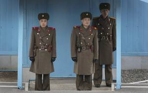 North Korea Military Porn - ... North Korean soldiers guard the truce village of Panmunjom at the  Demilitarized Zone (DMZ)