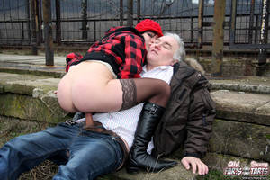 horny old man - ... Horny old man loves fucking young babes in the public park ...