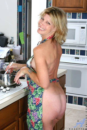 housewife kitchen - ... Naked housewife wearing an apron exposes her tits and sweet cougar  snatch in the kitchen ...