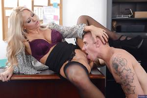 blowjob office milf - ... Splendid office MILF Holly gives wet blowjob and takes cumshot ...
