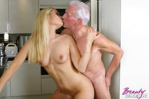 Beauty And Senior Fucking - ... Stunning blonde beauty drinks a senior his thick cumload ...
