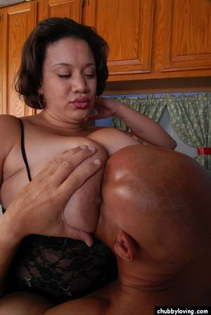 ebony smother - ... Ebony BBW Monet tit smothering man in kitchen with huge boobs ...