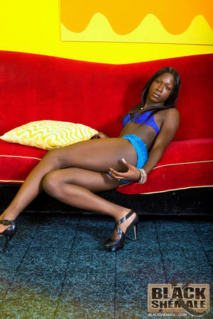 black blue shemale - Long haired small titted dark shemale takes off her blue suit and displays  her big cock