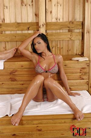 foot threesome - Honey Demon shows off her feet during a sauna threesome Main Image