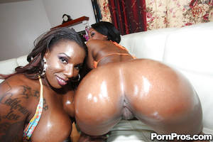 Ebony Ass Pussy - ... Ebony hotties Baby and Kelly show their oiled asses and pierced pussy  ...