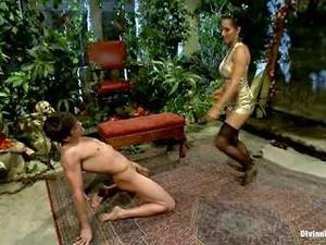anal loving femdom - FemDom Isis Love gives slave a dose of CBT & CFNM by kicking his.