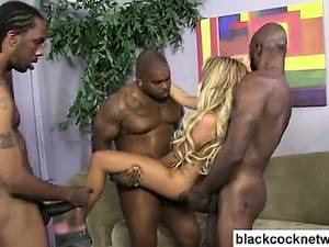 black hard gang bang - Two black cocks force their way into blondes holes