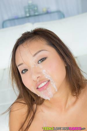 asian cum caption - ... Slippy asian hottie blows and fucks a thick boner for cum on her face