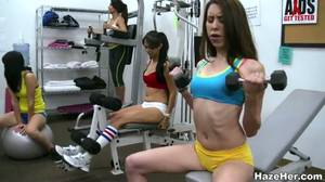 gym nude training - Naked babes are doing sports in the gym. Lesbian college porn is so wild!