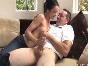 early morning handjob - Sexy Brunette Morning Handjob On The Couch