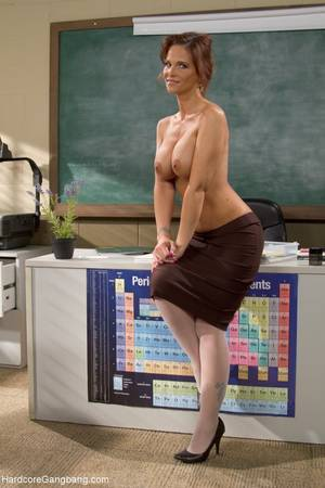 milf teacher - Hot milf teacher with giant tits gangbanged by students