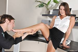 group cum feet - ... Sexy office girl has some hard foot fetish fun ending with cum on her  feet ...