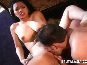 brunette asian slut sucking - One Busty Brunette Asian Slut Sucking And Fucking
