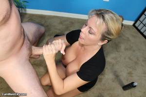 big dick two hands stroke job - ... blonde babe jerks a cock with two hands ...