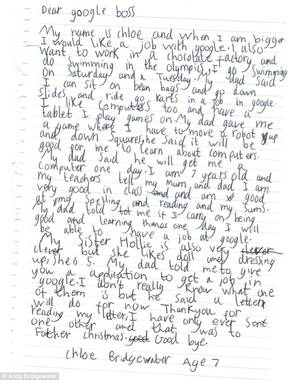 British Schoolgirl Porn - Chloe Bridgewater, age 7, sent Google a handwritten letter noting her  computer skills and