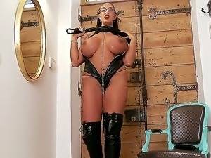 Latex Big Tits Anal - 03:01 Huge sexy brunette with big breasts in latex clothes was posing and  masturbating