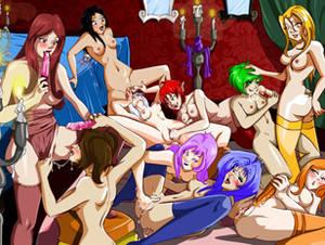 Anime lesbian orgies