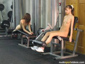 gym nude training - legs stretching exercises ...