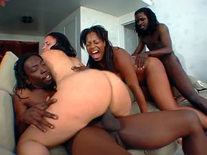 ebony babe orgy - Big black butts orgy with luscious ebony babe Lenore. He drilled in all  position.