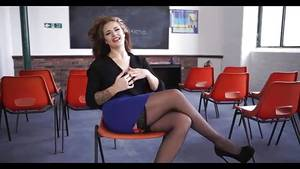 milf teacher - Sexy MILF teacher sits and strips and masturbates without a hotcock