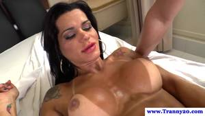 muscular tranny fucking female - Tanline tranny dildo fucked before jerking