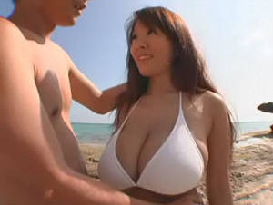 jap bikini sex - Busty Japanese bikini babe nailed on the beach